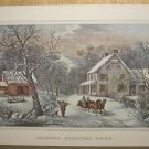 Currier & Ives Print AMERICAN HOMESTEAD WINTER Country