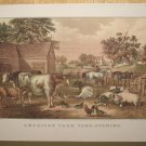 Currier & Ives Print AMERICAN FARM YARD EVENING
