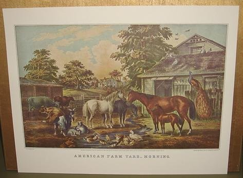 Currier & Ives Print AMERICAN FARM YARD MORNING