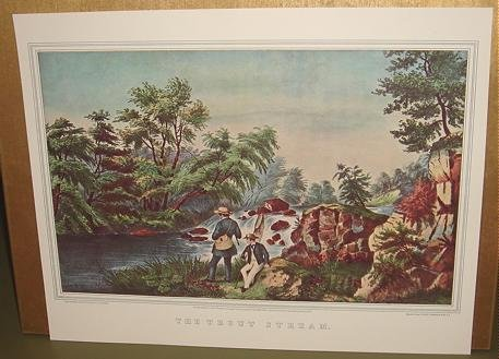 Currier & Ives Print THE TROUT STREAM Camp Boat Fish