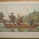 Currier & Ives Print CATCHING A TROUT Camp Boat Fish