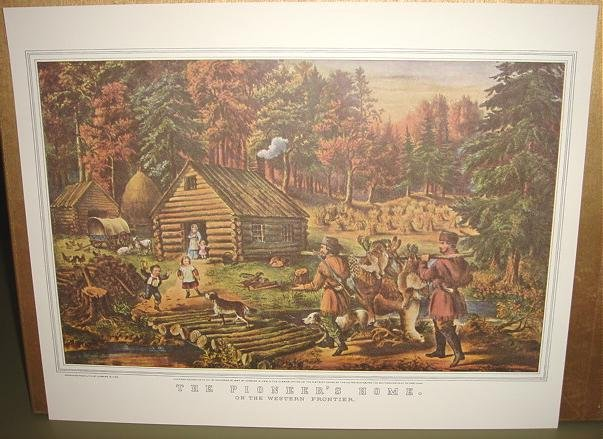 Currier & Ives Print THE PIONEER'S HOME Western Camp