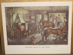 Currier & Ives Print TROTTING CRACKS AT THE FORGE Horse