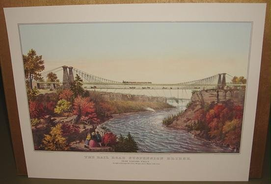 Currier & Ives Print RAIL ROAD SUSPENSION BRIDGE Train