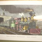 Currier & Ives Print THE NIGHT EXPRESS THE START Train
