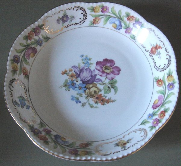 Dresden Flowers Bavaria Scalloped Coupe Soup Bowl