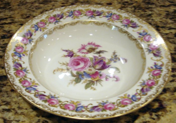 Rosenthal VIENNA Rimmed Soup Bowl Dresden Flowers chip