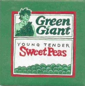 HAND PAINTED DECORATIVE FOOD LABEL CERAMIC TILE by TENNESSEE ARTIST, Green Giant sweet peas