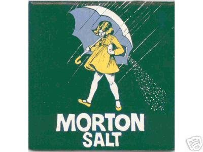 HAND PAINTED DECORATIVE FOOD LABEL CERAMIC TILE by TENNESSEE ARTIST, Morton salt