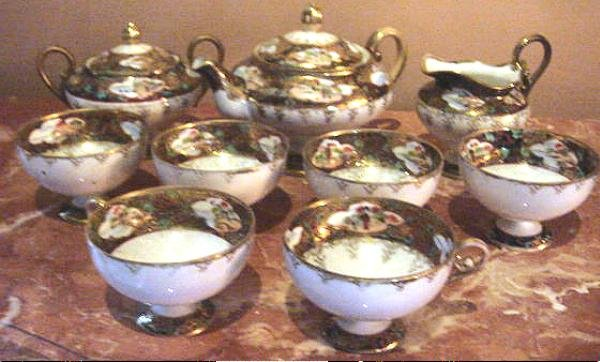 Outstanding Antique Oriental Fine Porcelain Tea Set, Hand Painted