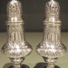 Fine Large Hand Chased Sterling Silver Salt & Pepper Shaker Set England Shakers