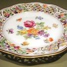 Schumann Dresden Flowers Pierced CHATEAU Dessert Pie Plate Bavaria Germany US Zone