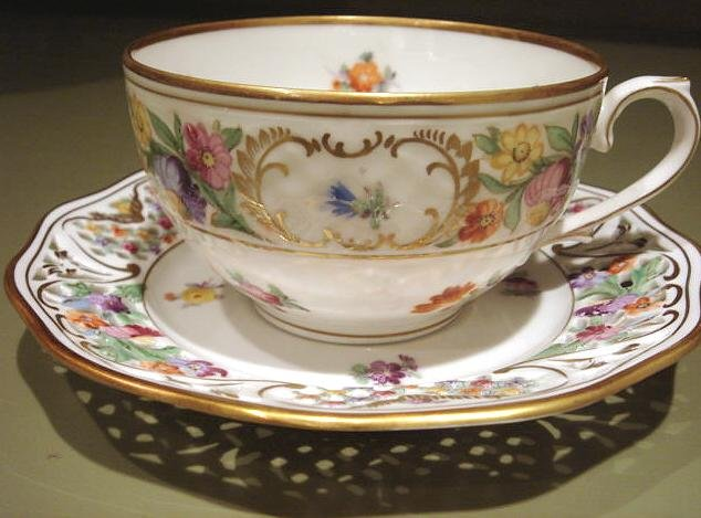 Schumann Dresden Flowers CHATEAU CUP & Pierced SAUCER Bavaria Germany US Zone