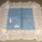 Vintage Handmade Linen & Net Lace Handkerchief, embroidery & applique