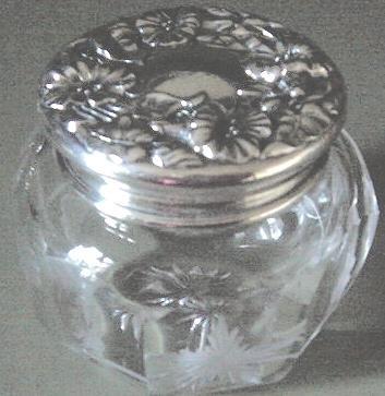 Finest Intaglio Cut Glass Vanity Powder Jar & Sterling 925/1000 Lid