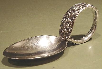 S Kirk & Son Co 925 Sterling Silver Repousse Round Handled Baby Spoon