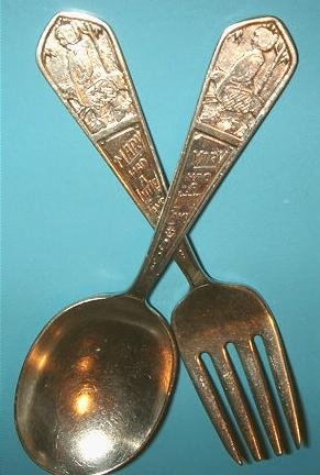 Rogers Sterling Silver Mary Had a Little Lamb Baby Fork & Spoon Set