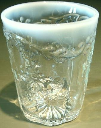 Vintage Tumbler Clear Pressed Pattern Glass White Opalescent Top