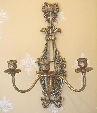 Vintage Decorative 3 Branch Bronzed Candle Wall Sconce