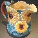 Vintage 1988 3 QT Fitz & Floyd Pottery Sunflower Pitcher