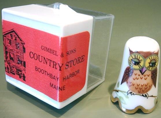 Vintage Thimble #6 Porcelain Owl Gold