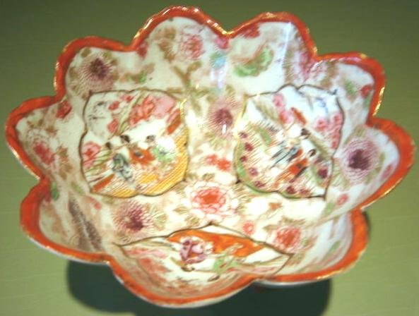 Antique Scalloped Footed Hand Painted Oriental Bowl