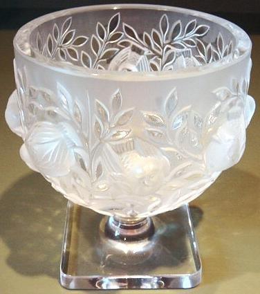 ELIZABETH Vase by Lalique Crystal Glass Birds in Flight ca 1980
