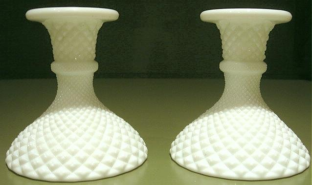 Pr. Vintage English Hobnail Milk Glass Candlesticks
