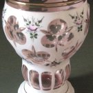 Beautiful Bohemian White Enamelled Hand Painted Vase Cut to Pink Crystal Cased Glass