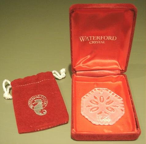 Vintage 1988 Annual Waterford Crystal Christmas Ornament Glass