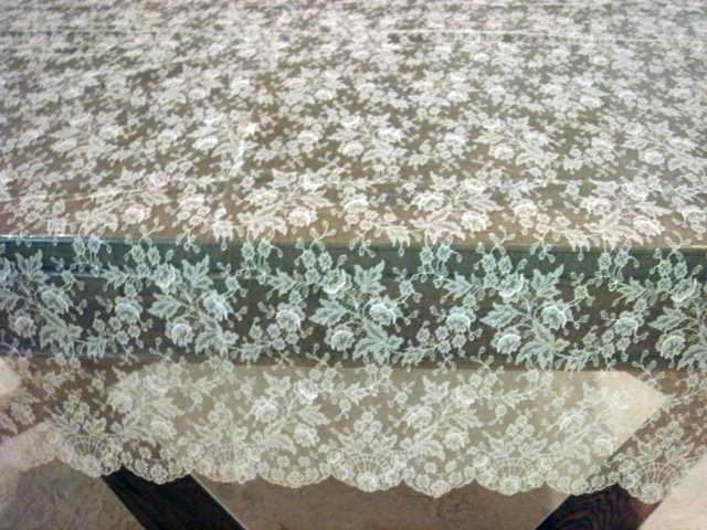 Vintage Ecru All Lace Tablecloth, Pieced Cloth #81