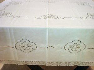 Outstanding Vintage HANDMADE European Linen & Lace, Tablecloth, Needlepoint & Filet Cloth #86