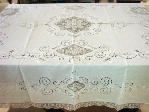 Fancy Vintage European Linen & Filet Lace HANDMADE Tablecloth, Cloth #90