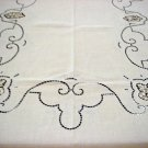 Vintage HANDMADE Linen Tablecloth, Filet & Needlepoint Lace, Cloth #88