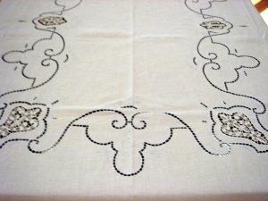 Vintage HANDMADE Linen Tablecloth, Filet & Needlepoint Lace, Cloth #88