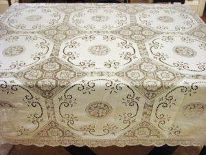 Vintage Banquet Size HANDMADE Linen Cutwork, Filet Lace Tablecloth, Cloth #93