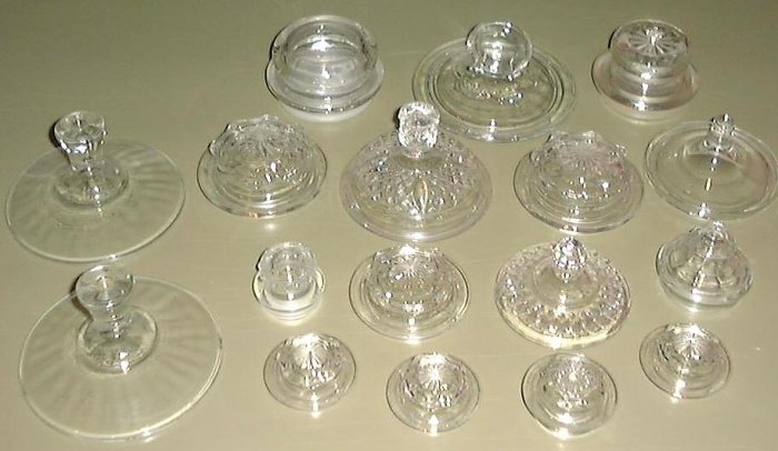 17 Clear Glass Lids for Jars, Bowls, Dishes