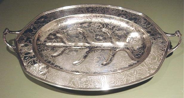 Beautiful Vintage TAPESTRY Silver Plated Serving Tray with Well, Weidlich Bros. Mfg. Co.