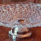 Vintage Large Daisy & Button Pattern Glass Compote Silver Base