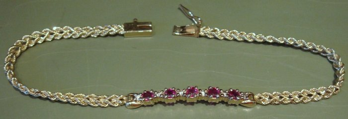 "7 1/2"" 14K Gold Bracelet, Rubies & Diamonds with Safety Catch"