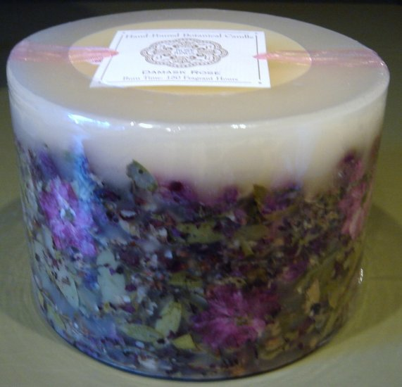 DAMASK ROSE Botanical Pillar Candle by Rosy Rings