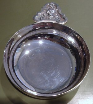 Signed CHRISTOFLE Silver Bowl Elaborate Handle France