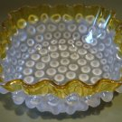 RARE Hobbs Brockunier DEW DROP, FRANCES, Hobnail Square Bowl, ca 1887