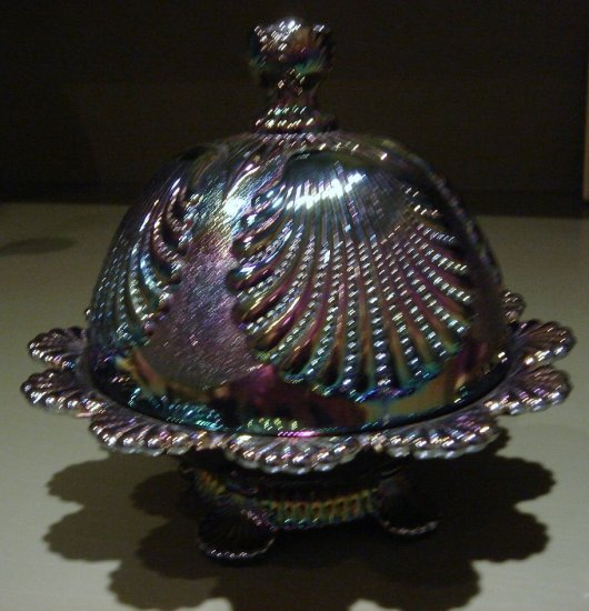 Carnival Glass Beaded Shell Covered Butter Dish Set