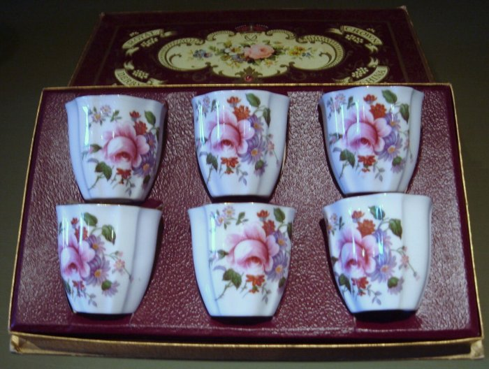 Boxed Set 6 Single Porcelain Egg Cups Royal Crown DERBY POSIES