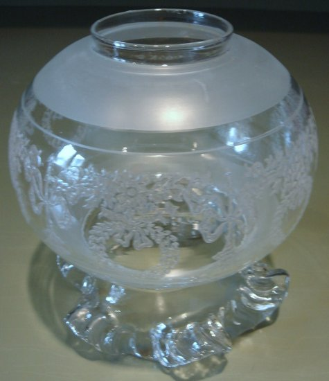 Outstanding Vintage Glass Globe Light Shade, Ruffled, Patterned