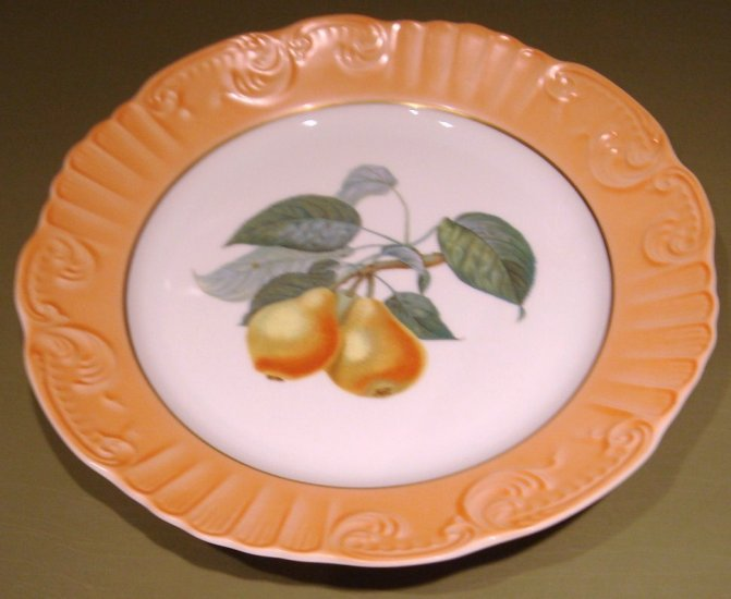 """RARE Summer Fruits PEARS 10"""" DINNER Plate Mottahedeh Portugal"""