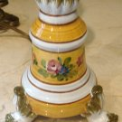 Italian Hand Painted Pottery Candlestick Table Lamp