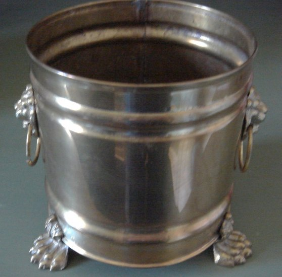 Handsome Brass Cache Pot Lion Head Paw Feet