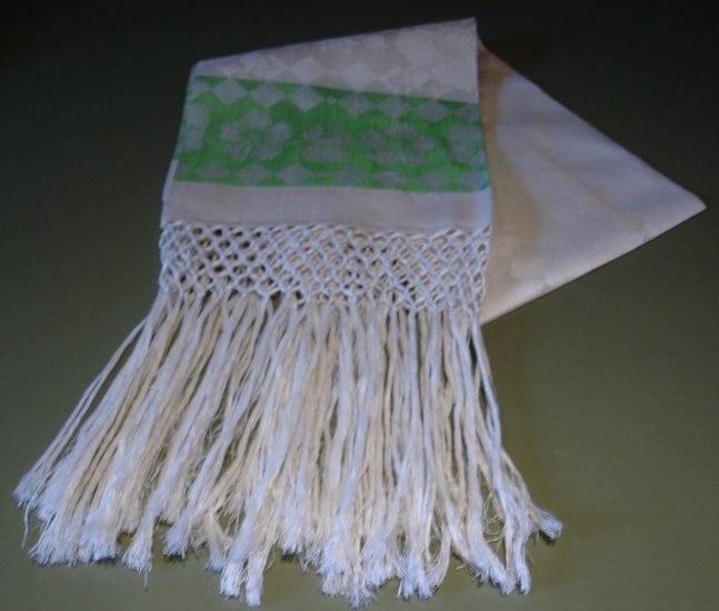 Outstanding! Early 20C Lily of the Valley Fringed Towel, Green